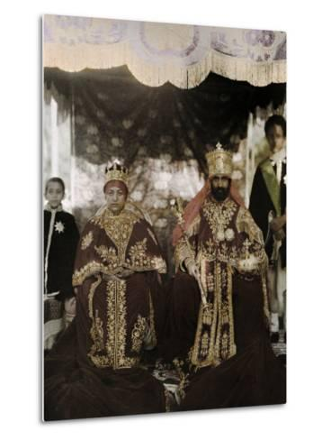 Monarchs Haile Selassie the First and Manen, Pose in their Robes-W^ Robert Moore-Metal Print
