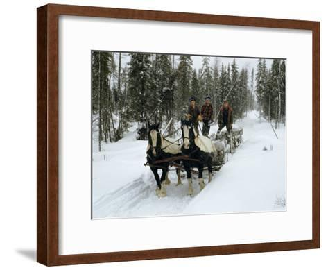 Loggers Haul Freshly Cut Timber on a Horse-Drawn Sleigh-B^ Anthony Stewart-Framed Art Print