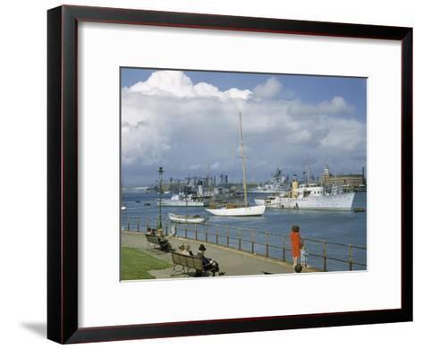 People at Gosport Hard Park Watch Ship Traffic at Naval Dockyards-B^ Anthony Stewart-Framed Art Print