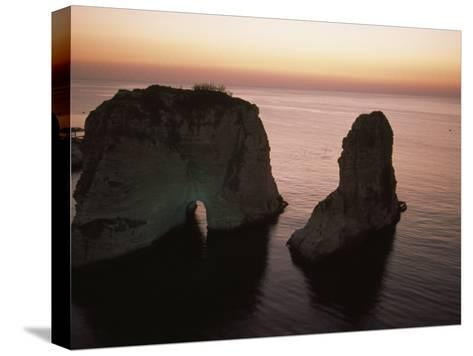 Rock Formation in the Mediterranean Sea-David Evans-Stretched Canvas Print