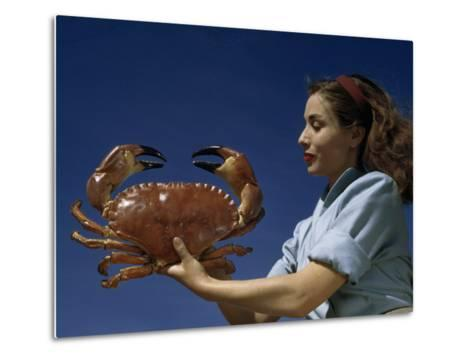Woman Holds a Crab Caught in the Bay of Biscay-Luis Marden-Metal Print