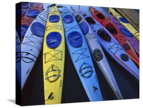 Group of Colorful Sea Kayaks-Michael Melford-Stretched Canvas Print