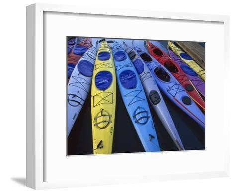 Group of Colorful Sea Kayaks-Michael Melford-Framed Art Print
