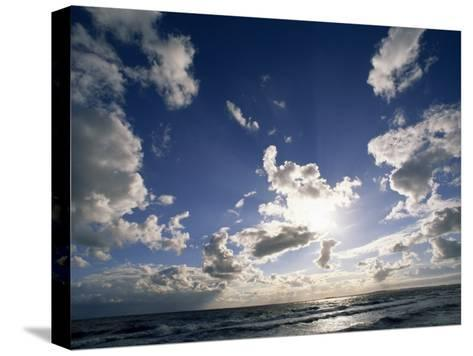 Beach with Gentle Surf under a Sky Filled with Puffy Clouds-Norbert Rosing-Stretched Canvas Print