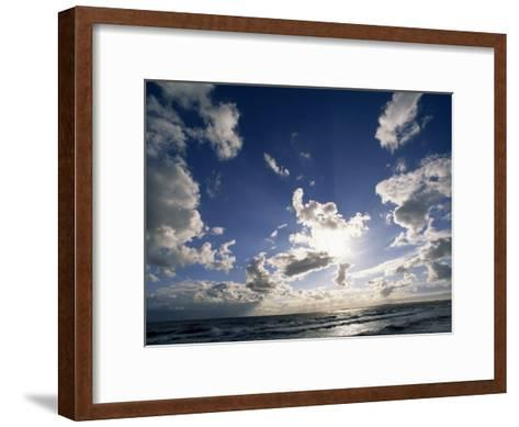 Beach with Gentle Surf under a Sky Filled with Puffy Clouds-Norbert Rosing-Framed Art Print