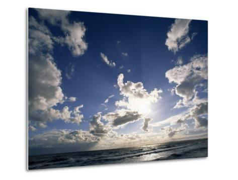 Beach with Gentle Surf under a Sky Filled with Puffy Clouds-Norbert Rosing-Metal Print