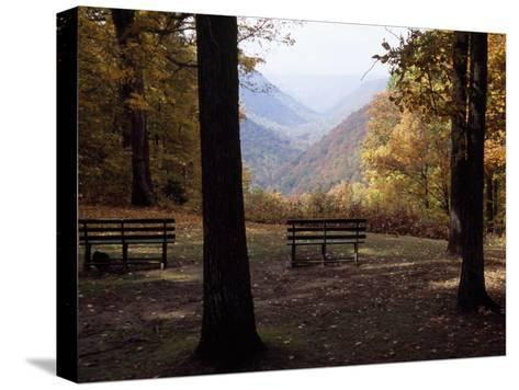 Benches Beckon Rest and Provide a Scenic View of Manns Creek Gorge-Raymond Gehman-Stretched Canvas Print