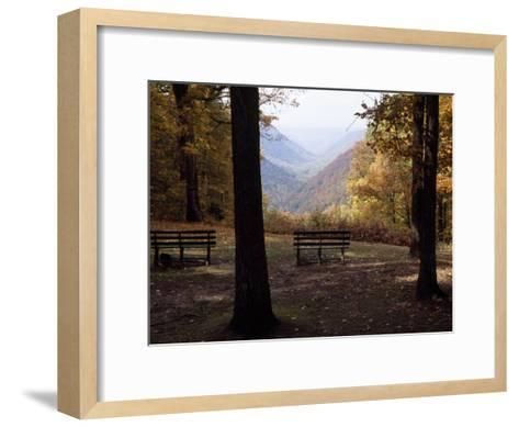 Benches Beckon Rest and Provide a Scenic View of Manns Creek Gorge-Raymond Gehman-Framed Art Print