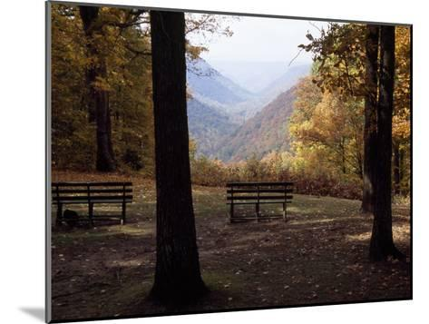 Benches Beckon Rest and Provide a Scenic View of Manns Creek Gorge-Raymond Gehman-Mounted Photographic Print