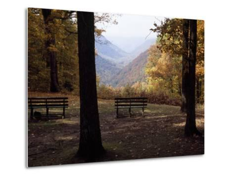 Benches Beckon Rest and Provide a Scenic View of Manns Creek Gorge-Raymond Gehman-Metal Print