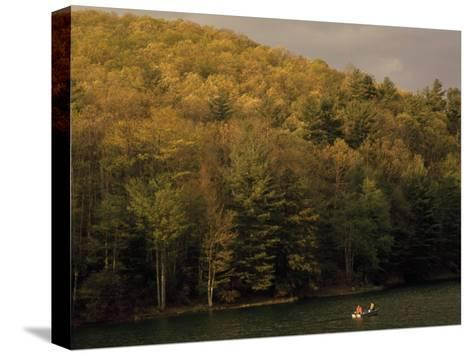 Outdoorsmen Enjoying a Day in a Small Boat on Watoga Lake-Raymond Gehman-Stretched Canvas Print