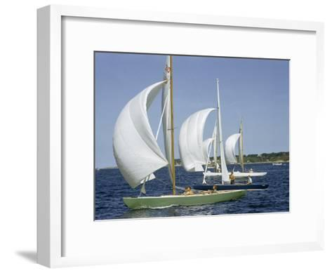 Sailboats Cross a Race Course Starting Line with Wind-Filled Sails-Robert Sisson-Framed Art Print
