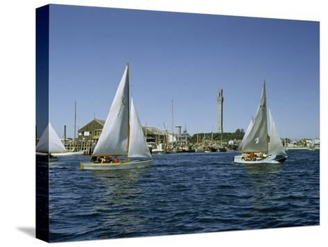Sailboats Racing Off Provincetown Pass Tall Pilgrim Monument-Robert Sisson-Stretched Canvas Print