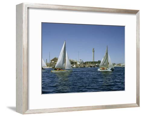 Sailboats Racing Off Provincetown Pass Tall Pilgrim Monument-Robert Sisson-Framed Art Print