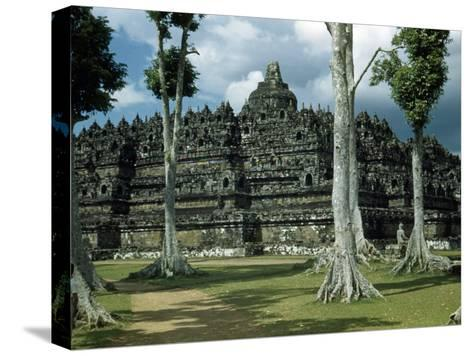 Woman Stands in Shade Beside Tall Trees Near Borobudur Temple-W^ Robert Moore-Stretched Canvas Print