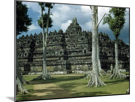 Woman Stands in Shade Beside Tall Trees Near Borobudur Temple-W^ Robert Moore-Mounted Photographic Print