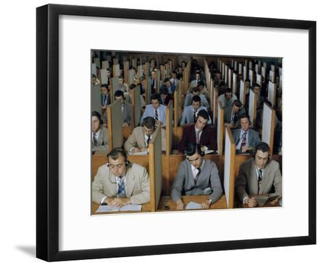 Male Students Study Languages in a Large Listening Lab--Framed Art Print