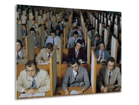 Male Students Study Languages in a Large Listening Lab--Metal Print