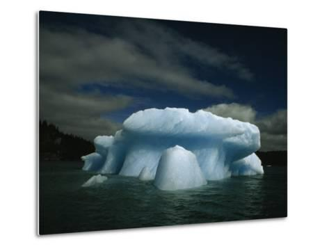 Melting Iceberg under a Cloud Filled Sky-Paul Chesley-Metal Print