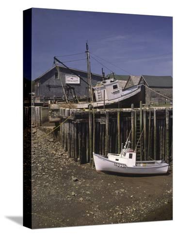 Low Tide at Halls Harbor in the Bay of Fundy-Michael Melford-Stretched Canvas Print