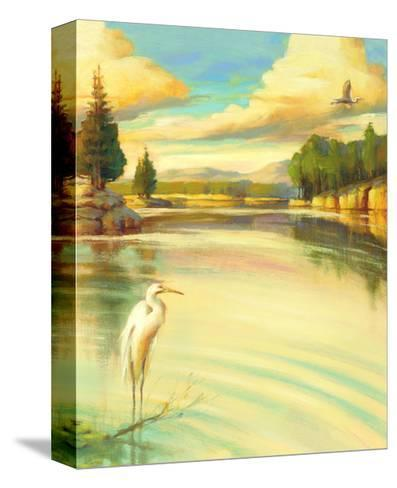 Lake Scene with Heron--Stretched Canvas Print
