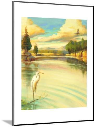 Lake Scene with Heron--Mounted Art Print