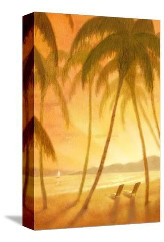 Tropical Beach with Palm Trees--Stretched Canvas Print