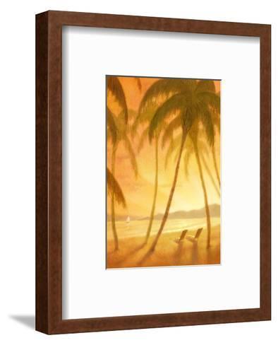 Tropical Beach with Palm Trees--Framed Art Print