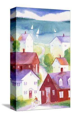 Houses in Seaside Town--Stretched Canvas Print