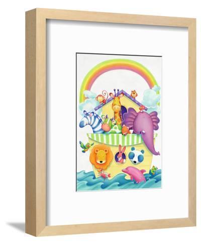 Cute Animals on Ark--Framed Art Print