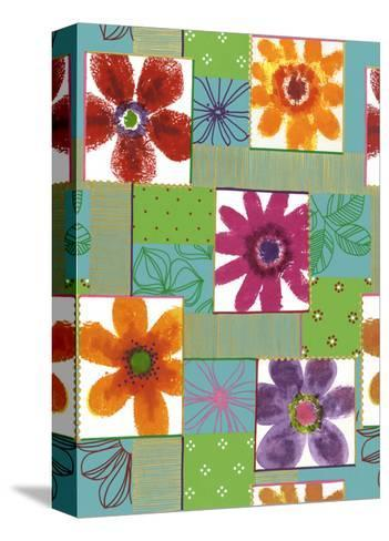 Colorful Flowers in Boxes--Stretched Canvas Print