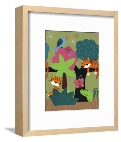 Sleeping Leopards and Crocodile--Framed Art Print