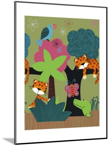 Sleeping Leopards and Crocodile--Mounted Art Print