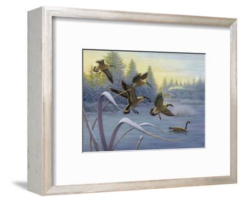 Geese on Winter Lake--Framed Art Print