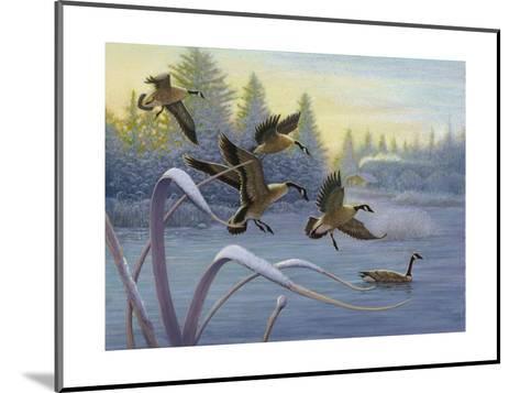 Geese on Winter Lake--Mounted Art Print