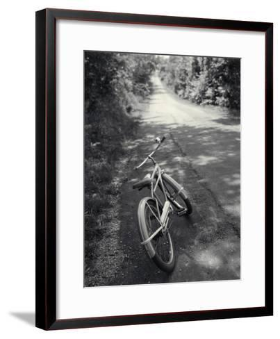 Bicycle Along Road--Framed Art Print