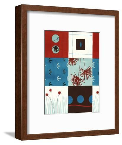 Red and Blue Floral Squares--Framed Art Print
