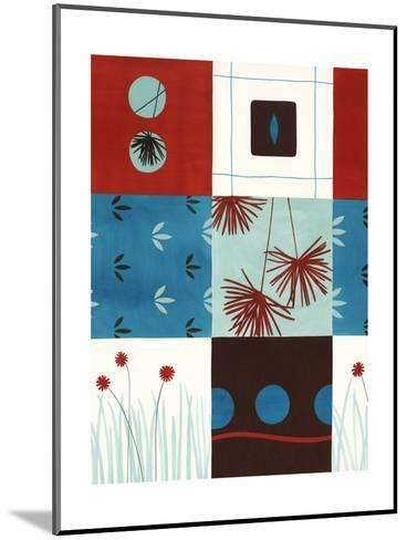 Red and Blue Floral Squares--Mounted Art Print