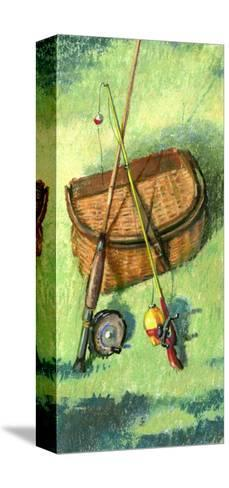 Fishing Basket and Rods--Stretched Canvas Print
