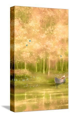 Canoe Floating along Forest--Stretched Canvas Print