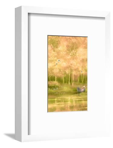 Canoe Floating along Forest--Framed Art Print
