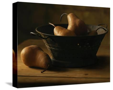 Pears in Metal Bowl--Stretched Canvas Print