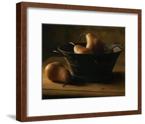 Pears in Metal Bowl--Framed Art Print