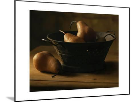 Pears in Metal Bowl--Mounted Photo