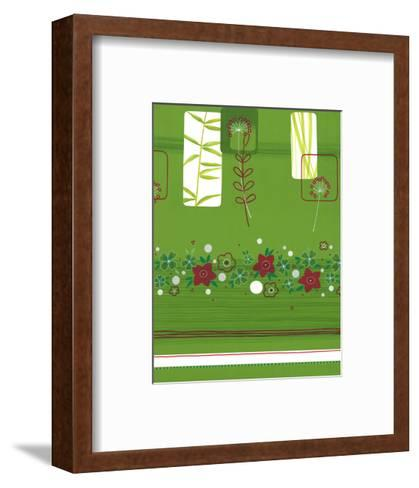 Leaves and Floral on Green--Framed Art Print