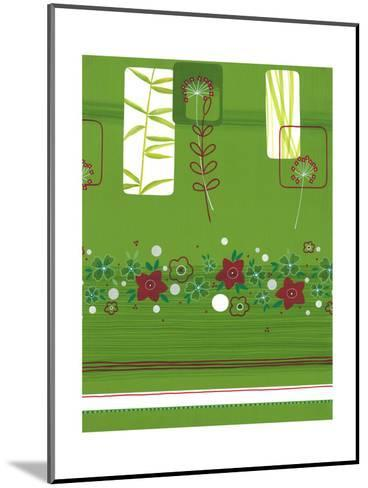 Leaves and Floral on Green--Mounted Art Print