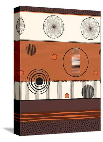 Brown and Orange Circles--Stretched Canvas Print