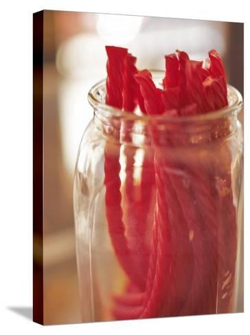 Red Licorice in Glass Jar--Stretched Canvas Print