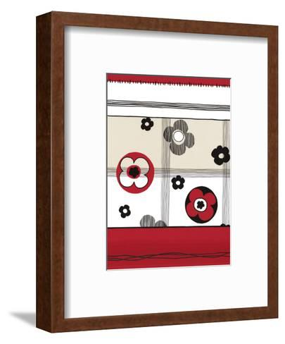Red and Black Graphic Flowers--Framed Art Print