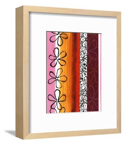 Floral Designs on Stripes--Framed Art Print